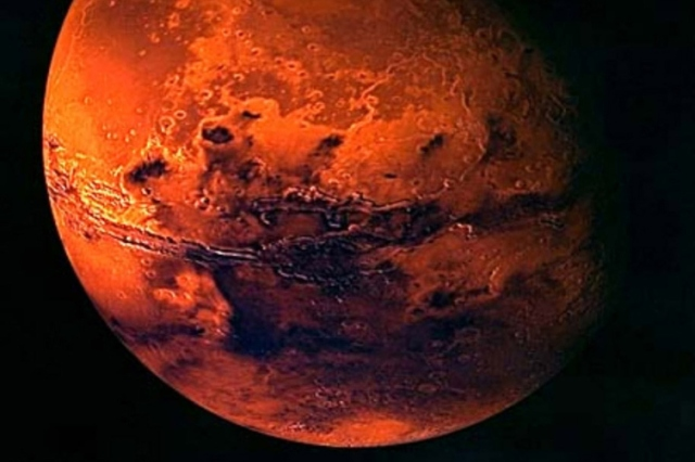A VISUALISATION OF MARS CREATED FROM SPACECRAFT IMAGERY.